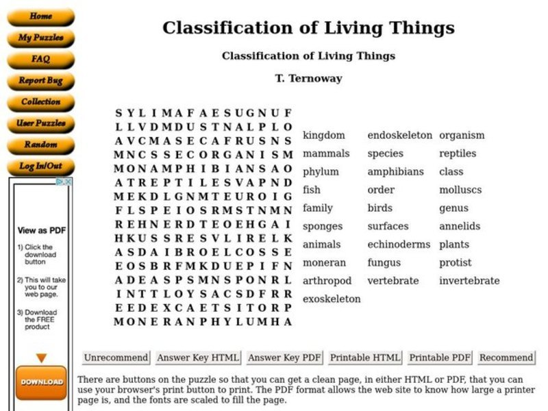 Classification Of Living Things Worksheet 7th Grade Printable – Classification Worksheets