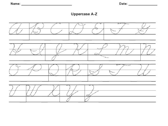 cursive uppercase a z worksheet for 2nd 4th grade lesson planet. Black Bedroom Furniture Sets. Home Design Ideas