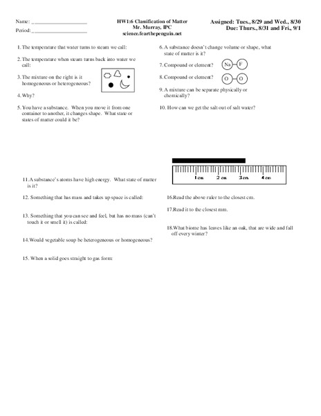 Classification Of Matter Worksheet For 9th 10th Grade