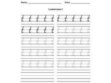 Lower Case t_ Cursive Writing Practice Worksheet