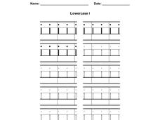 Printing Practice: Lower Case i Worksheet