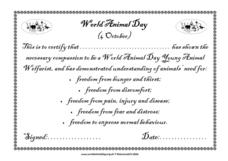 World Animal Day Certificate Lesson Plan