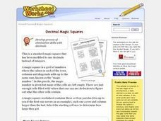 Decimal Magic Squares Worksheet