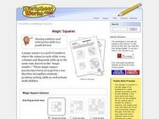 Integer Magic Squares Worksheet