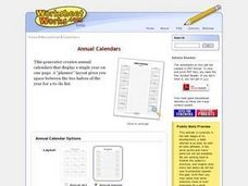 Annual Calendars Worksheet