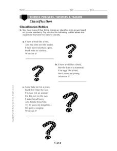Classification of Organisms Worksheet