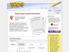 Rhode Island Location Word Search Worksheet