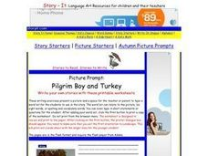 Picture Prompt: Pilgrim Boy and Turkey Worksheet