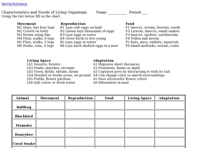 Characteristics and Needs of Living Organisms 4th 12th Grade – Characteristics of Living Things Worksheet