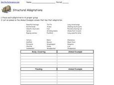 Structural Adaptations Worksheet