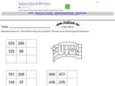 Grade 2 Addition: 3 Digit Math Puzzle Worksheet