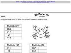 Multiplication by 3 Digit Numbers-- Table Worksheet
