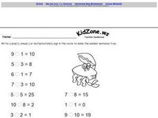 Kid Zone Number Sentences 1 Worksheet