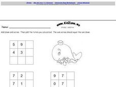 Grade One Addition Tables Worksheet