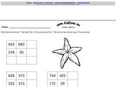 Grade Two Addition Tables Worksheet