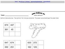 Grade 2 Subtraction Tables- Three Digit Subtraction Worksheet