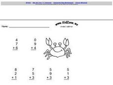Grade Two Addition with Three Addends Worksheet