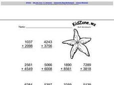 Adding With Four Digit Numbers Worksheet