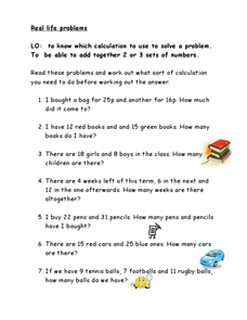 Real Life Problems-- Addition and Subtraction Word Problems Worksheet