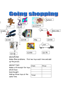 At the Toy Shop-- Money Problems Worksheet
