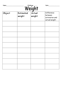 Weight Estimation Chart Worksheet