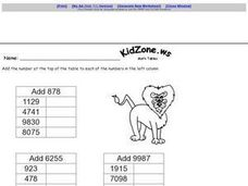 Addition Tables: Adding Larger Numbers With Regrouping Worksheet