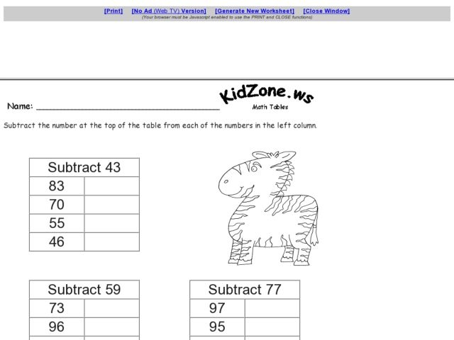 Subtraction Tables: Subtracting 2 Digit Numbers with Regrouping Worksheet