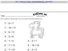 Kid Zone Number Sentences 2 Worksheet