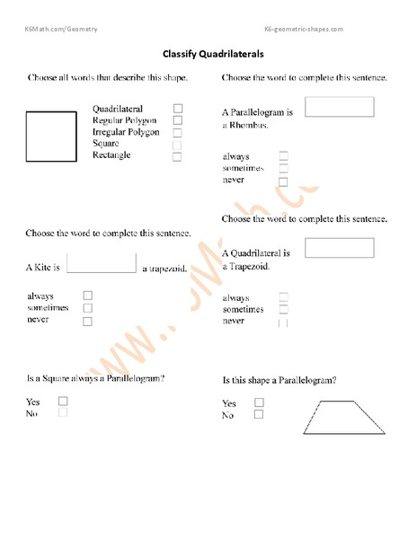 Classify Quadrilaterals Worksheet For 4th 6th Grade