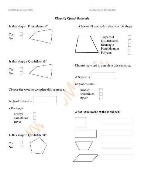 Classify Quadrilaterals Worksheet For 3rd 4th Grade