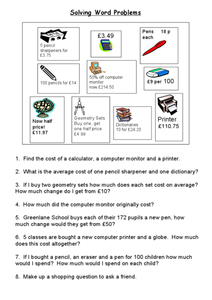 Shopping-- Word Problems with Money Worksheet