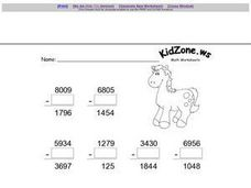 Identity Property of Subtraction- Four Digit Numbers Worksheet