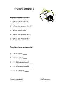 Fractions of Money Worksheet