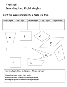 Sort the Quadrilaterals According to Angles Worksheet