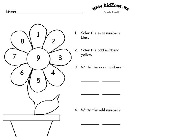 Even and Odd Number Printing and Coloring Page Worksheet