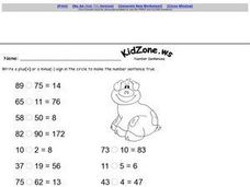 Finish the Number Sentence Worksheet