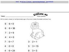 Addition, Subtraction, or Multiplication Sentences Worksheet