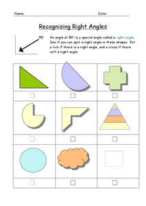 Recognizing Right Angles Worksheet