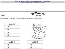 Simple Addition Tables Worksheet