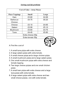 Cost of Take Away Pizzas Worksheet