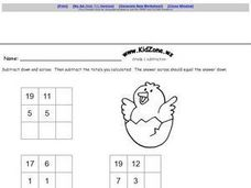 Kid Zone Grade 1 Subtraction Worksheet
