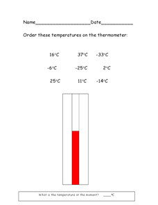 Order The Temperatures on the Thermometer (Celsius Only) Worksheet