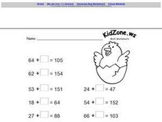 Adding Zero To One And Two Digit Numbers Worksheet