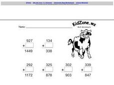 Adding Zero to a 3 Digit Number Worksheet