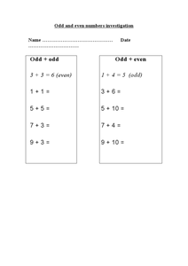 Odd and Even Numbers Investigation (Addition) Worksheet