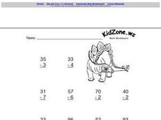 Subtract Single Digit from Double Digit Numbers Worksheet