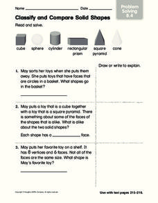 Classify and Compare Solid Shapes Worksheet
