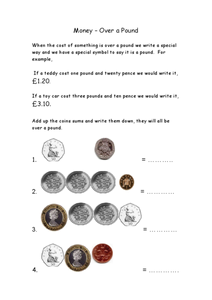 Money Over A Pound Worksheet