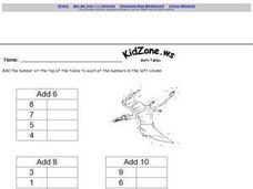 Addition Math Tables Worksheet