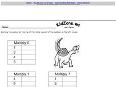 Multiplication: Math Table (Basic Facts) Worksheet